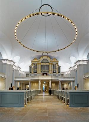 Gustafi Domkyrka sedd från altare mot orgel